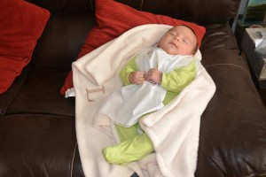 Luke resting after baptism